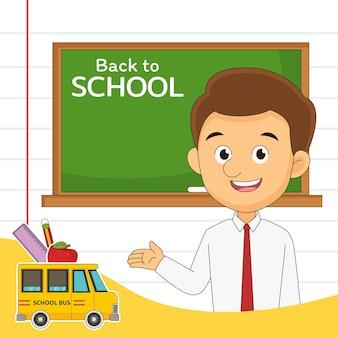 Cartone animato ritorno a scuola insegnante
