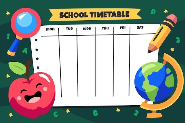 Modello di orario di ritorno a scuola dei cartoni animati