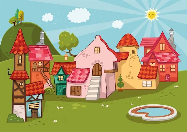 Sfondo di cartone animato di un villaggio medievale illustrazione vettoriale