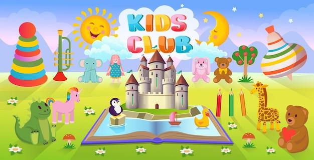 Sfondo di cartone animato con un sacco di giocattoli per bambini