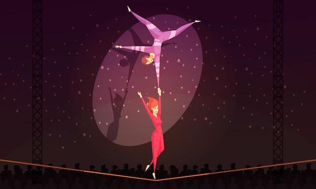 Sfondo di cartone animato con acrobati di funamboli che si esibiscono al circo