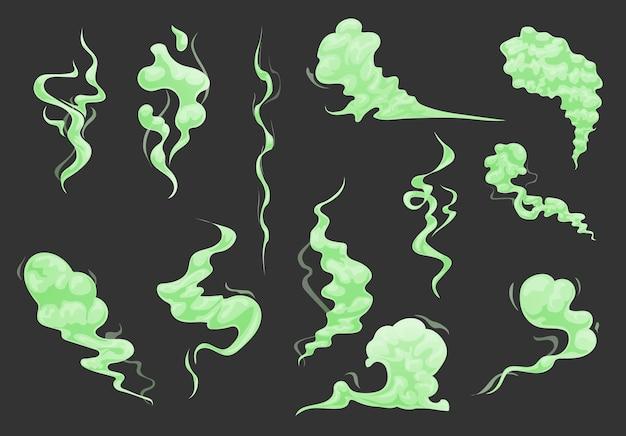 Cartone animato cattivo odore verde nuvole, fumo e set di vapore tossico.