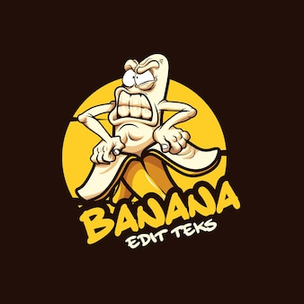Illustrazione vettoriale del logo della banana dei cartoni animati