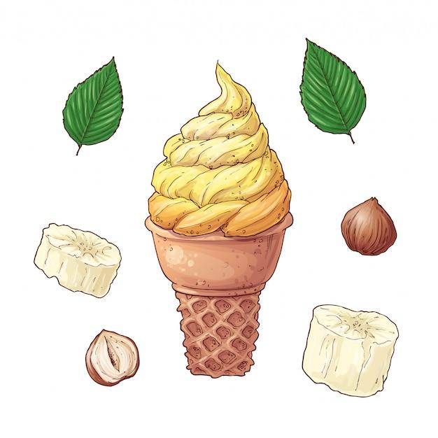 Cartoon banane e gelati Vettore Premium