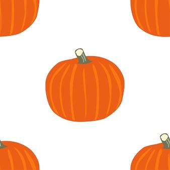 Bandiera del fumetto con zucca piatta senza soluzione di continuità su sfondo bianco. arte delle vacanze. stagione autunnale. cibo sano vegetariano. celebrazione del ringraziamento.
