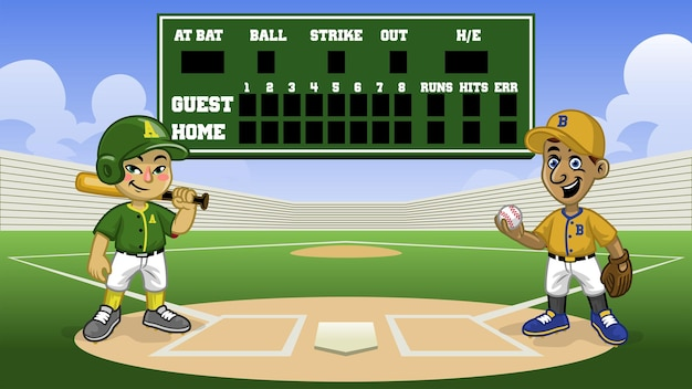 Partite di baseball dei cartoni animati nello stadio con tabellone segnapunti della banca