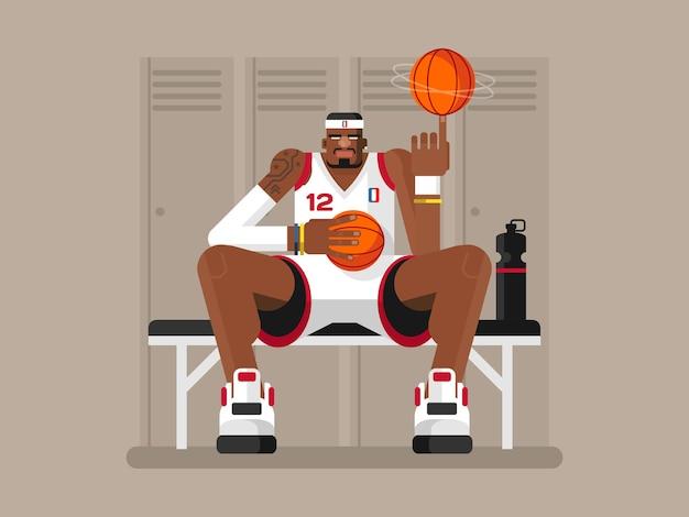 Giocatore di basket dei cartoni animati. persona atleta, gioco e uomo forte, sportivo di carattere, illustrazione piatta