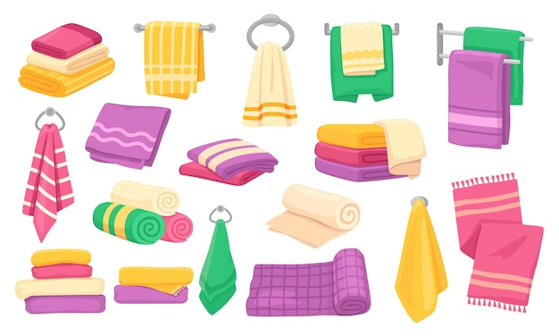 Set di asciugamani appesi arrotolati da cucina per il bagno dei cartoni animati