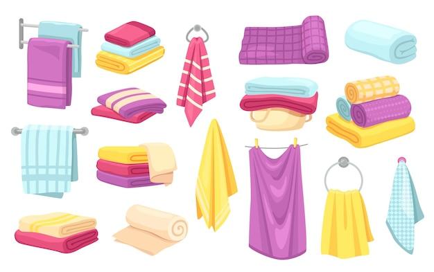 Cartone animato, asciugamani, vettore, set