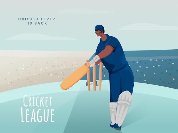 Giocatore di battitore del fumetto in posa di azione sul campo da giuoco astratto per la febbre della lega di cricket è tornato il concetto.