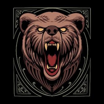 Disegno dell'illustrazione della testa dell'orso del fumetto
