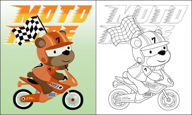 Cartone animato di orso in sella a una moto che trasporta bandiera di finitura