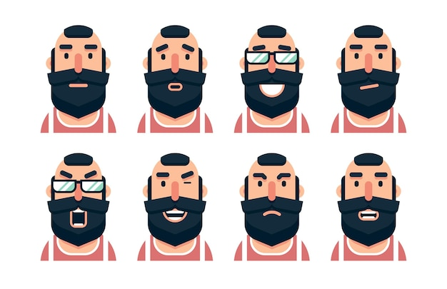 Personaggio dei cartoni animati uomo barbuto con varie espressioni facciali