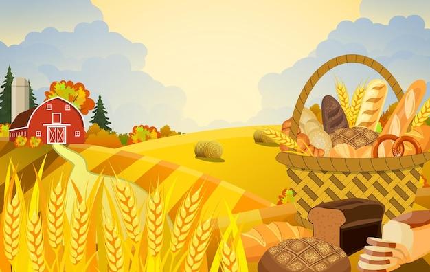 Cartone animato bella scena di fattoria autunnale con campi di grano. paesaggio piatto fattoria