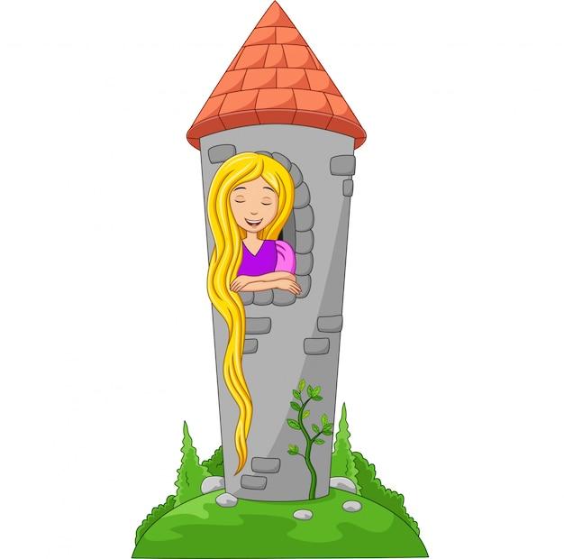 Cartoon bella principessa con i capelli lunghi alla finestra di un castello