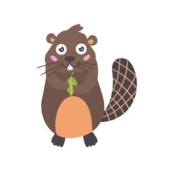 Cartone animato castoro foglia verde