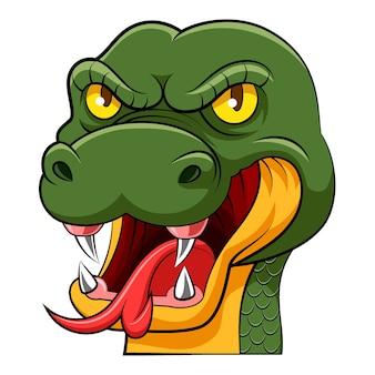 Il fumetto della grande testa di serpente verde con la lunga lingua e gli occhi gialli