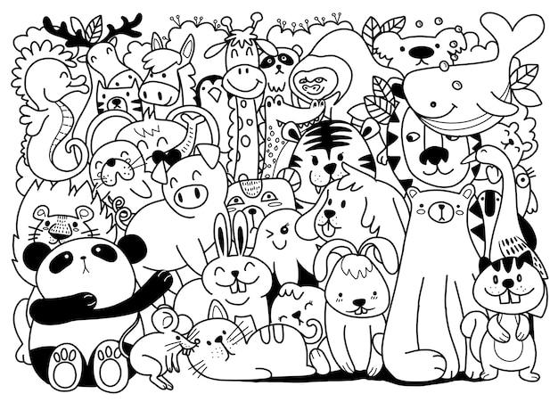Cartone animato grande set di simpatici animali doodle. perfetto per la stanza dei bambini del libro del bambino della cartolina di compleanno, illustrazione per il libro da colorare, ciascuno su un livello separato.