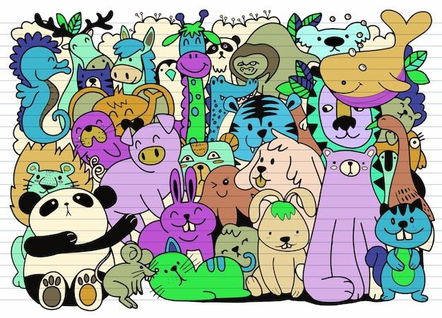 Cartone animato grande set di simpatici animali doodle. perfetto per la stanza dei bambini del libro del bambino di compleanno della cartolina, illustrazione per libro da colorare, ciascuno su un livello separato.