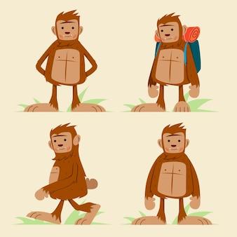 Collezione di personaggi sasquatch bigfoot del fumetto
