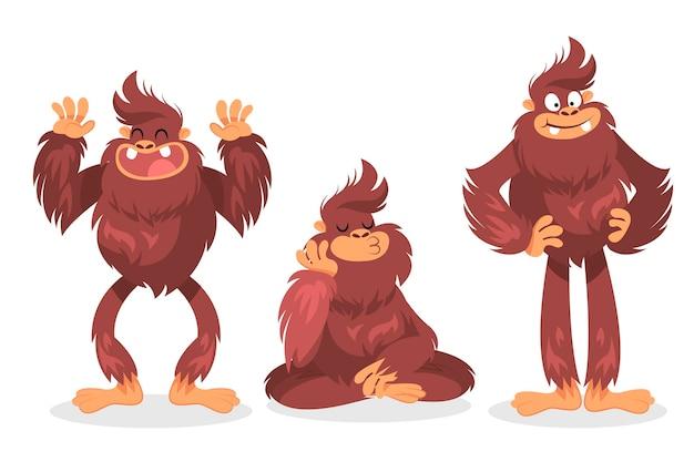 Collezione di personaggi sasquatch bigfoot del fumetto Vettore Premium