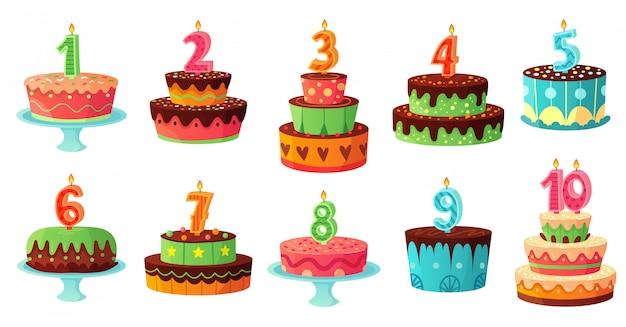 Candela di numeri del fumetto torta di compleanno. candele di anniversario, insieme dell'illustrazione delle torte del partito di celebrazione