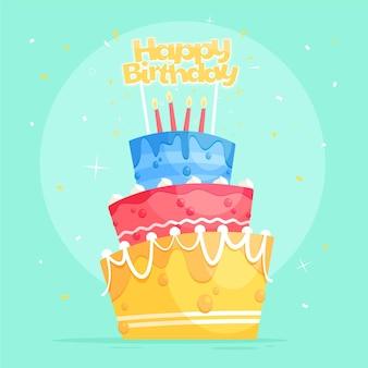 Torta di compleanno dei cartoni animati con topper