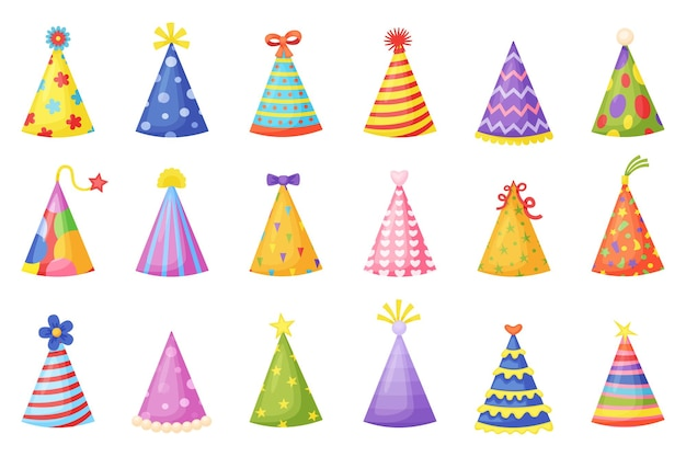 Insieme di vettore dei coni di carta di celebrazione di festa di natale o di compleanno del fumetto dei cappelli della festa
