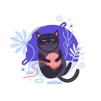 Gatto birmano nero del fumetto che salta e che tiene un rotolo per lavorare a maglia