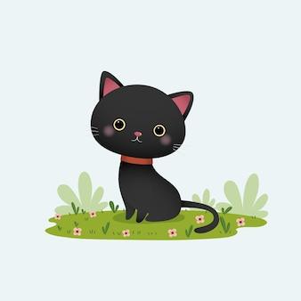 Cartone animato gatto nero seduto in giardino.