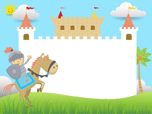 Cartone animato di cornice vuota vuota con piccolo cavaliere a cavallo