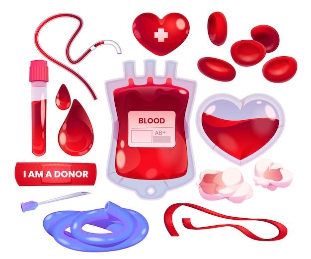 Collezione di donazioni di sangue dei cartoni animati