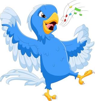 Cartone animato blu uccello che canta su bianco