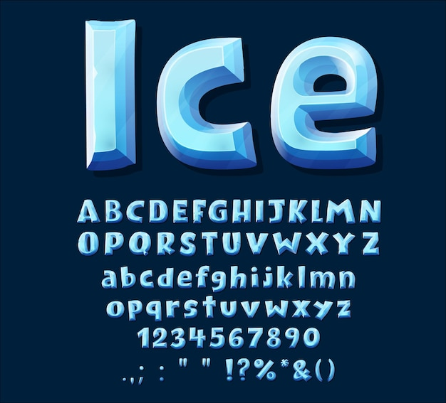 Tipo di carattere di cristallo di ghiaccio blu del fumetto. alfabeto maiuscolo, cifre e segni di punteggiatura. lettere abc vettoriali, cifre e simboli congelati in inverno. carattere di ghiaccio isolato per il design del gioco