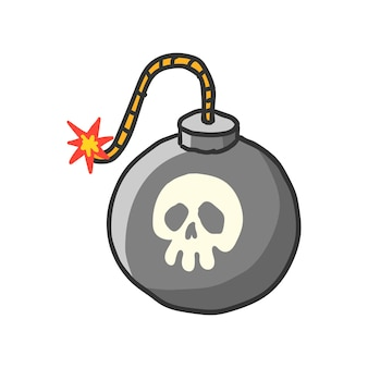 Bomba cartone animato con stoppino in fiamme. illustrazione di vettore. disegnato a mano