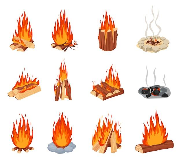 Fuochi di cartone animato fiamme di fuoco ardenti all'aperto con bordo in pietra con set di fumo