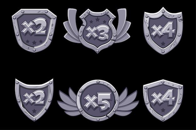 Numeri bonus del fumetto su scudo di pietra con nastro blu.