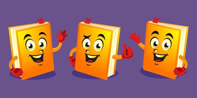 Disegno della mascotte del libro del fumetto Vettore Premium