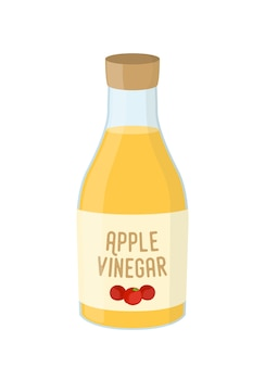 Bottiglia di cartone animato di aceto di mele, condimento giallo