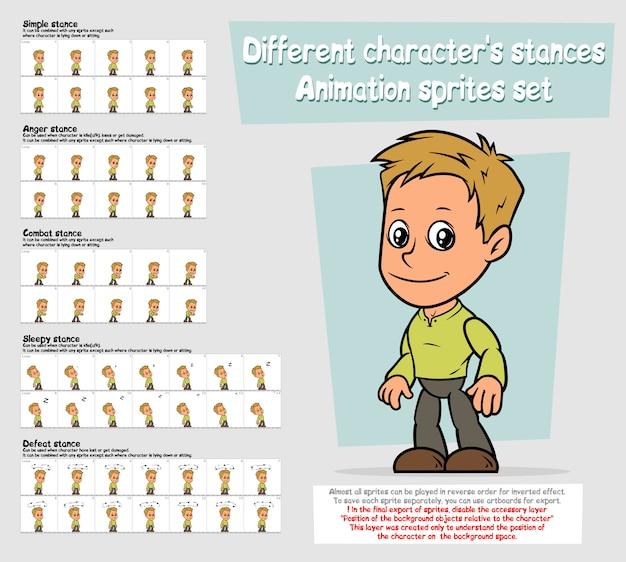 Insieme del foglio degli sprites di animazione del carattere del ragazzo del fumetto