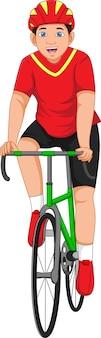 Ragazzo cartone animato che si esercita in bicicletta