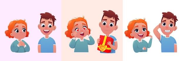 Cartoon ragazzo e ragazza personaggio di san valentino
