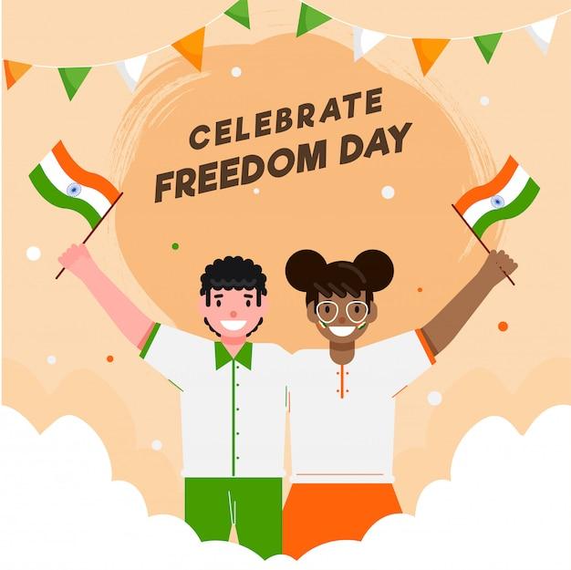 Ragazzo e ragazza del fumetto che tengono le bandiere indiane con le nuvole su sfondo arancione pastello per celebrare la giornata della libertà.