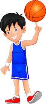 Ragazzo del fumetto che gioca a basket