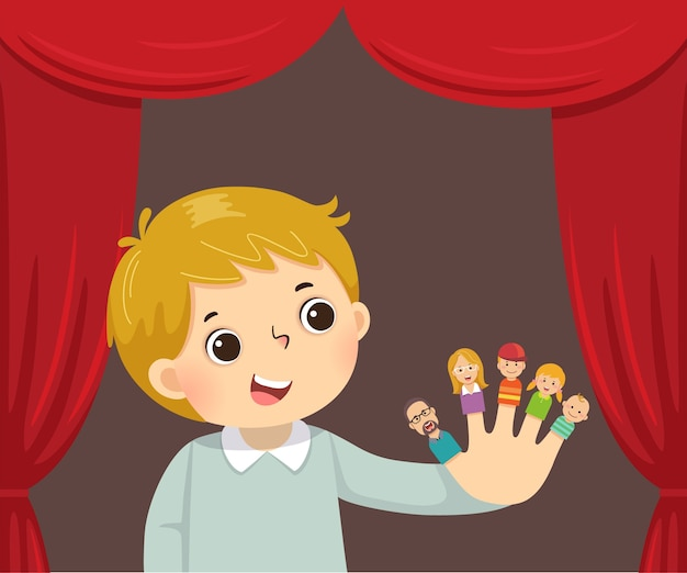 Cartone animato del ragazzo che gioca teatro di marionette da dito della famiglia.