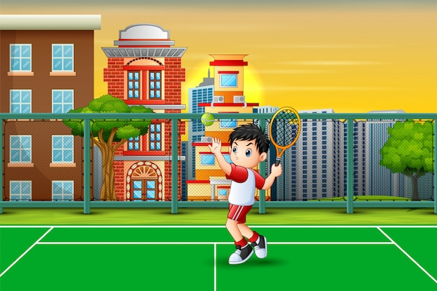 Cartone animato un ragazzo che gioca a tennis in tribunale