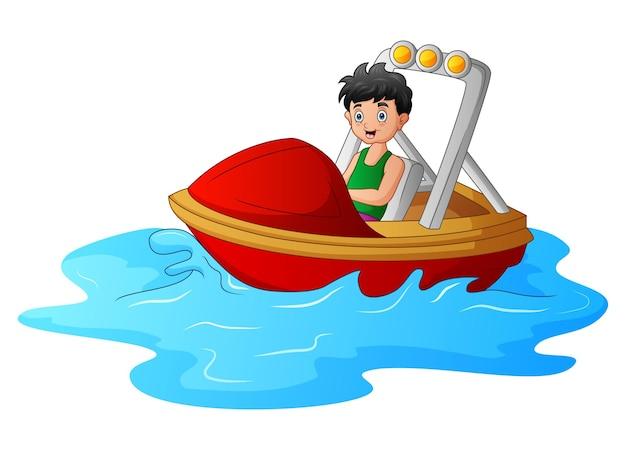 Ragazzo del fumetto che guida una barca sul mare