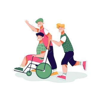 Ragazzo del fumetto in sedia a rotelle divertendosi con gli amici - adolescente disabile