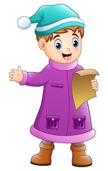 Ragazzo di cartone animato in abiti invernali cantando canti di natale