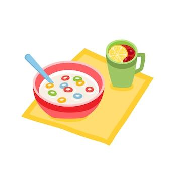 Ciotola per la colazione del fumetto con cereali o anelli di mais e tè ai frutti di bosco isolato su priorità bassa bianca. colore illustrazione vettoriale di fiocchi di anelli croccanti in piatto rosa con uso cucchiaio per etichetta e menu cafe.